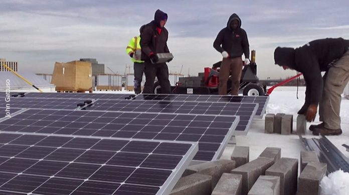Solar installation on commercial rooftop in Secaucus NJ