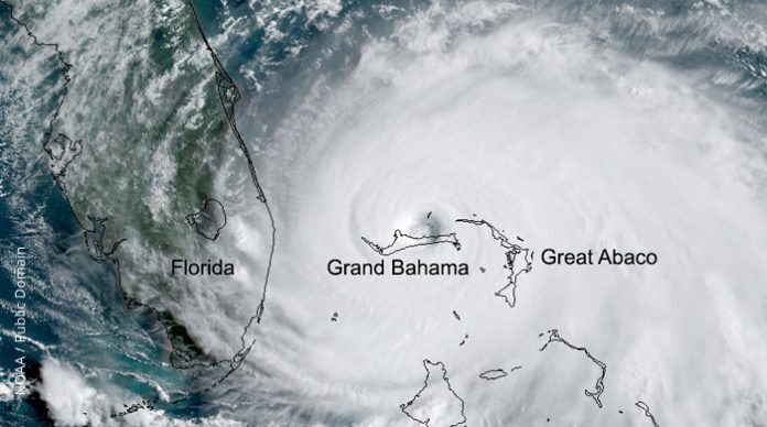Hurricane Dorian over the Bahamas