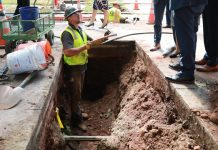 Lead water pipe under construction, Newark